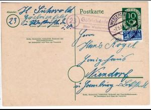 BRD 1953, Landpost Stpl. 23 GÖLRIEHENFELD über Westerstede auf 10 Pf. Ganzsache