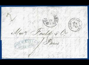 "Schweden Frankreich 1862, Göteborg, Brief m. Porto Stpl. ""20"" u. rs. KSPA. #1053"