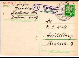 BRD 1958, Landpost Stpl. 21a KARTHAUS über Dülmen auf 10 Pf. Ganzsache