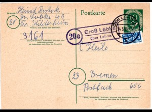 BRD 1954, Landpost Stpl. 20a GROSS LOBKE über Lehrte auf 10 Pf. Ganzsache