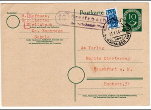 BRD 1954, Landpost Stpl. 16 BREITZBACH über Herteshausen auf 10 Pf. Ganzsache
