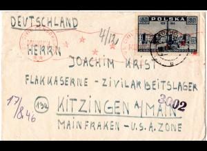 Polen 1946, 6 Zl. auf Zensur Brief v. Kladzko ins Zivilarbeitslager Kitzingen