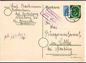 BRD 1952, Landpost Stpl. BELTERSHAIN über Giessen auf 10 Pf. Ganzsache