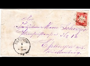 Bayern 1880, L2 POSTABLAGE WEIDENBACH auf Brief m. 10 Pf. u. K1 Triesdorf