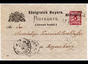 Bayern 1889, L2-Aushilfstempel ROTTENBURG a-L. klar auf 5 Pf. Ganzsache