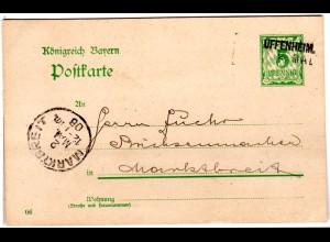 Bayern 1906, L2-Aushilfstempel UFFENHEIM klar auf 5 Pf. Ganzsache