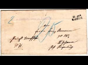 Bayern 1895, Aushilfstpl. MAINBURG auf Porto Brief v. Forstamt Appersdorf