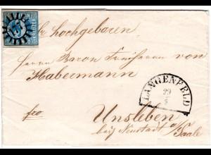 Bayern, MR 177 Langenfeld klar auf Brief m. voll-/breitrandiger 3 Kr.