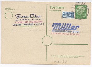 BRD P 28A, Ganzsache Antwortteil v. Nördlingen m. Notopfer Marke. #357