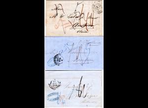 Italien Toscana 1854-58, 3 Briefe n. Holland m. versch. Portonotierungen