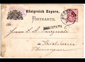 Bayern 1886, Sationsstpl. NUERNBERG Bhf. auf Ganzsache m. Bahnpost NBG BERLIN II