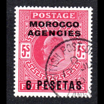 Marokko, Britisch Morocco Agencies Nr. 31, sauber gebr. 6 P./5 S.
