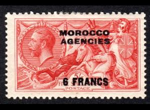 Marokko, Britisch Morocco Agencies Nr. 219, ungebr. 6 Fr./5 S.