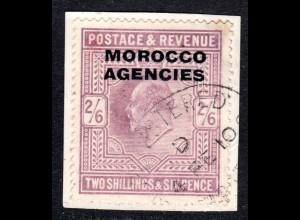 Marokko, Britisch Morocco Agencies Nr. 39, gest. 2/6 Sh´P auf schönem Briefstück