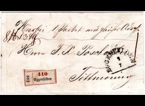 Bayern 1867, HKS u. Paketzettel v. EGGENFELDEN auf Begleitbrief n. Tittmoning