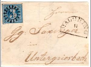 Bayern, MR 195 Malching auf schöner Briefvorderseite m. breitrandiger 3 Kr.