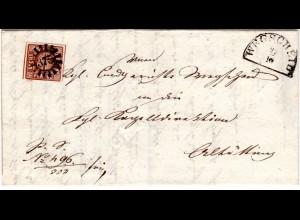 Bayern 1850, MR 375 WEGSCHEID auf Brief m. unten berührter 6 Kr.