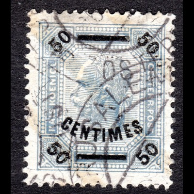 Österreich. Post Kreta 4 A, 50 C./50 H. m. Zähnung 13:13 1/2 u. Stpl. Jerusalem