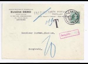 Belgien DR 1929, 35 C. auf nicht anerkannter Drucksache m. Nach Porto. #703