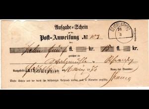 Bayern 1870, GEISELHÖRING, HKS u. L1 auf Postschein f. eine Postanweisung