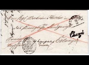 Bayern 1850, HKS ALTDORF u. L1 Chargé auf Armensache Reko Brief n. Erlangen