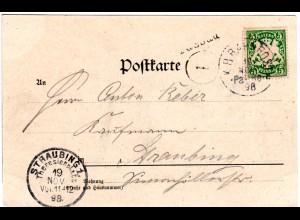 Bayern 1898, Stationsstpl. L1 PASSAU auf Karte m. 5 Pf. u. Bahnpost-K1 Pa-Re 8