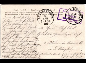 Bayern 1906, Posthilfstelle ADLDORF Taxe Eichendorf auf Bahnpost Soldaten Karte
