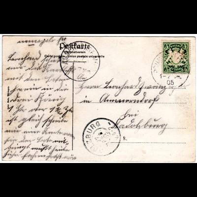 Bayern 1905, Reservestempel CADOLZBURG R als Ank.Stpl. auf AK v. Pommersfelden