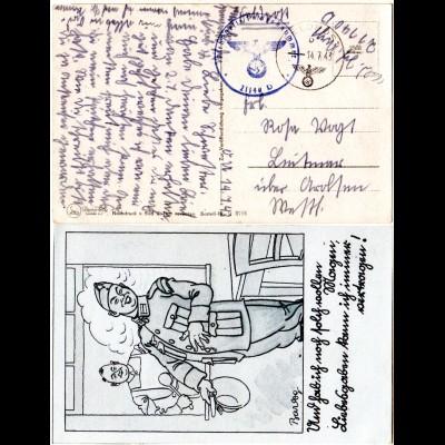 Dt. Feldpost WK II 1943, Soldaten Jux-AK m. FP- u. Briefstempel FPNR. 21140 D