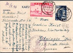 Polen 1946, Ganzsachenkarte v. Wroclaw m. Zensur ins Zivilarbeitslager Kitzingen