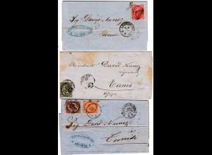 Italien 1865/66, 3 Briefe m. versch. Frankaturen n. Tunesien, dabei Drucksache