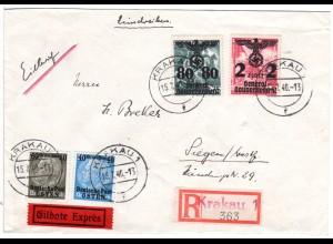 Generalgouvernement 1940, 4 Marken auf Reko-Express Brief v. Krakau