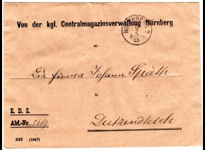 Bayern 1900, portofreier Eisenbahn Dienstsache Vordruck Brief v. Nürnberg 7