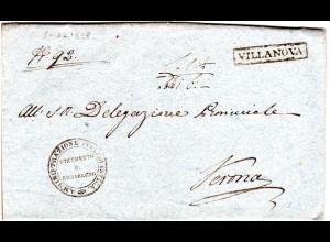 Lombardei u. Venetien 1828, R1 VILLANOVA klar auf schgönem Brief n. Verona.