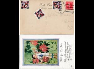 USA 1921, 3 Weihnachten Christmas seals on postcard from N.Y.