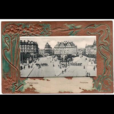München, Panorama Karlsplatz m. Pferdefuhrwerken, attraktive ungebr. Prägekarte