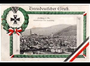 Freiburg i. Br., Treudeutscher Gruß m. Gesamtansicht, 1915 gebr. National-AK