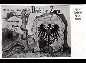 WK I, Deutscher Zorn, Viel Feind! viel Ehr! Ungebr. sw-AK