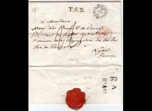 Italien Kirchenstaat 1841, Porto Brief v. Rom n. Frankreich m. Transitstpl. TS2