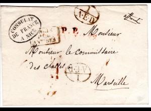 Italien Sardinien 1835, Franco Brief v. Nice n. Frankreich m. Transitstpl. 1AED