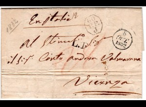 Frankreich 1832, Porto Brief v. Paris n. Vicenza Italien m. Transitstpl.