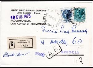 Italien 1975, 70+200 L. auf Reko-AR Orts Postkarte v. Brescia