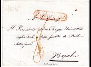 Italien Neapel, roter Oval-R1 CATANZARO auf Porto Brief n. Napoli.