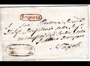 Italien Neapel, Oval-R1 BAGNARA auf Brief n. Napoli.