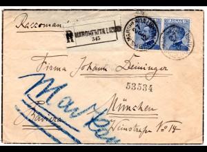 Italien 1912, Paar 25 C. auf Einschreiben Trauerbrief v. San Margherita Ligure
