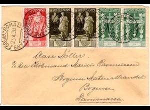 Italien 1938, 20+je 2x25+30 C. auf Brief m. Bahnpoststpl. n. Dänemark