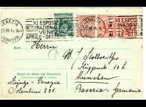 Italien 1914, Karte m. Venezia Maschinen-Sonderstpl. XI Esposizione Intern...