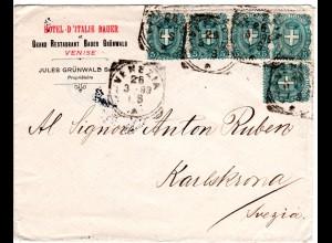 Italien 1899, 5x5 C. auf Hotel Brief v. VENEZIA n. Schweden.