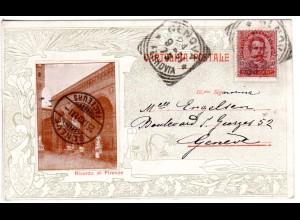 Italien 1901, 10 C. auf attraktiver Karte v. Ricordo di Firenze