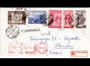 Italien 1960, Schweden Reko-Zettel auf Einschreiben Brief v. PRATO m. 5 Marken